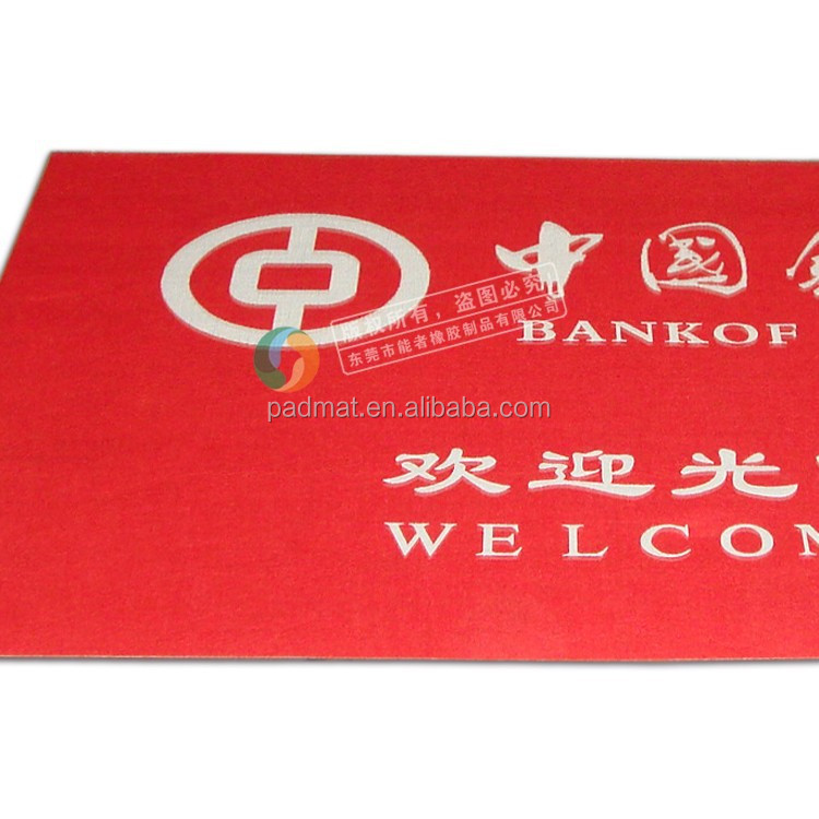 sublimation printing thin gym rubber anti-fatigue polyester door mat with welcome