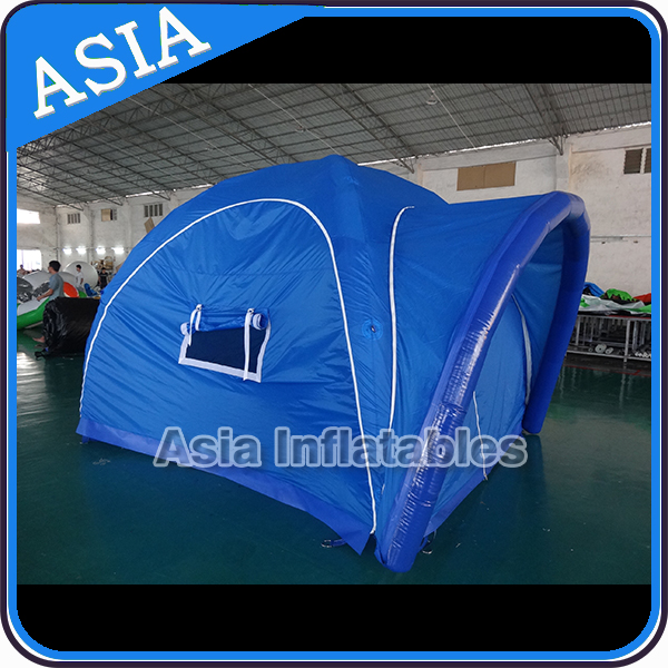 Blue air sealed PVC tent inflatable building as temporary air structure for camping