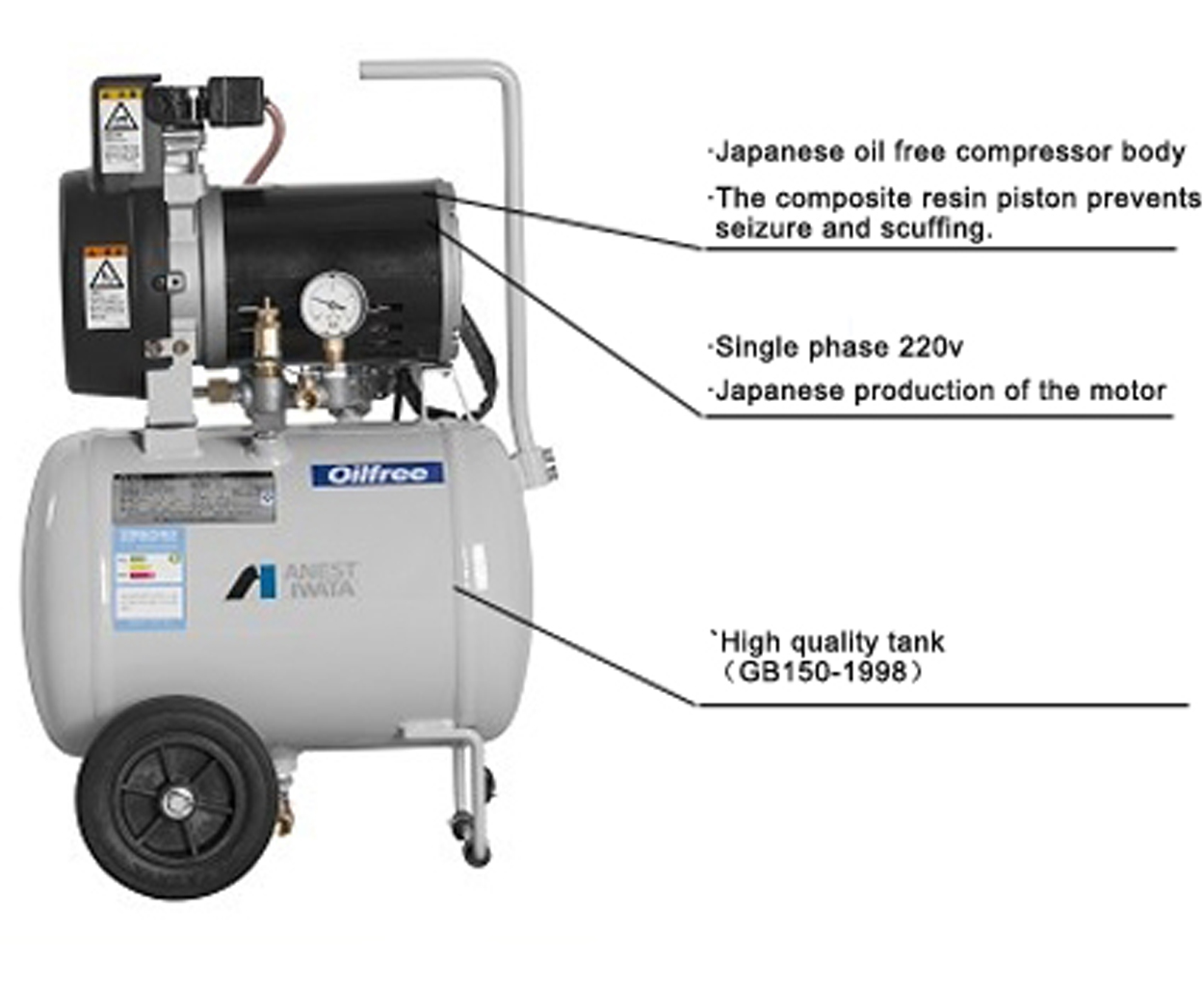 professional Anest Iwata oil free air compressor