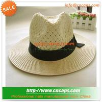 Comfortable Straw Baseball Hat With Customized Ribbon