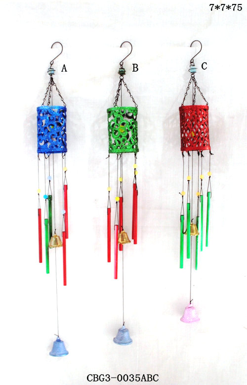 Unique Design Cast Iron Wind chimes Hanging 3 Colorful Wind Bells and 16 Copper Vein Tube for Garden Decor