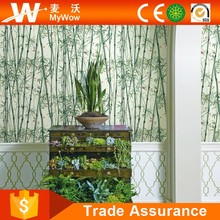 Flocking 3D Natural Green Bamboo Wallpaper