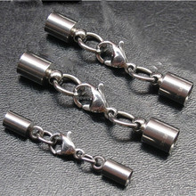 BXG005 stainless steel End Caps - End Cap with Lobster Claw Clasp & Extention Chain for Leather Cord DIY jewelry Finding