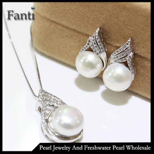 Silver 925 set natural pearl pendant and earring set mounting design
