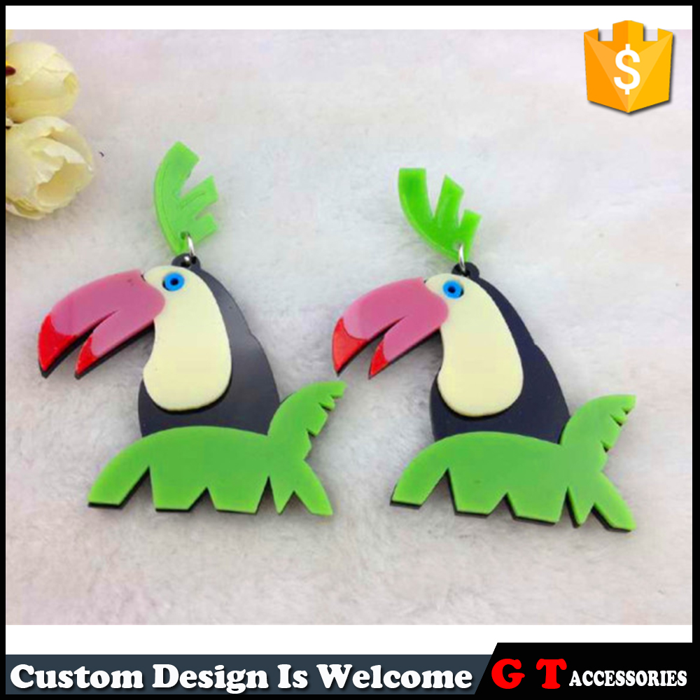 Unique Design Colorful Big Fancy Bird Shaped Stud Earring Animal Shaped  Jewelry Findings For Party Women