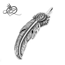 Men's Stainless Steel Pendant Necklace Silver Black Feather Virgin Mary Gothic