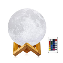 Led Night Light 3D Print Moon Lamp Led, 3 Colors Dimmable Touch Control Brightness with USB Charging for Home Decorative