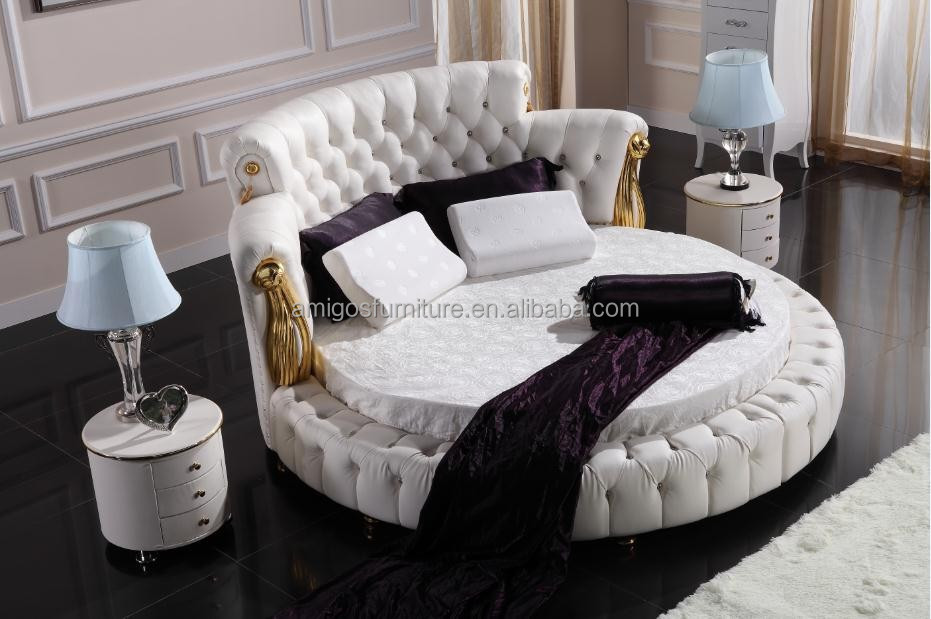 Top Grain Italian classical leather beds with crystal