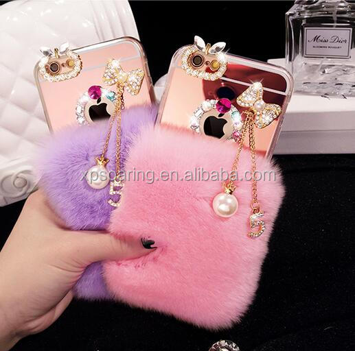 Furry mirror case back cover for iPhone 6 7, bunny diamond fur case for iPhone 7 Plus
