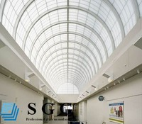 Toughened Laminated curved glass roof panels
