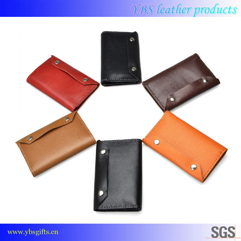 Hot selling universal genuine cowhide leather card holder key chain wallet