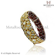 Indian Hand Crafted 14k Gold Rose Cut Diamond Bangle Latest Design Party Wear Bangle