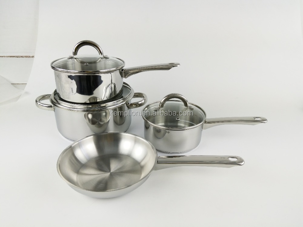 Promotion 7pc cookware set with induction base 16/18/20/24cm with hollow handle