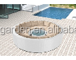 outdoor rattan wicker round shape sofa set garden leisure lounge sofa bed
