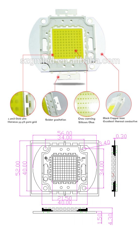 100W High Power LED 100W COB LED for 100W LED Flood light