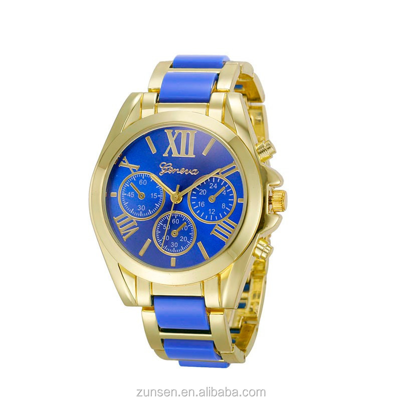 2016 New Famous Brand Women Gold Geneva Stainless Steel Quartz Watch Sports Casual Analog Watches Relogio Feminino 10 Colors
