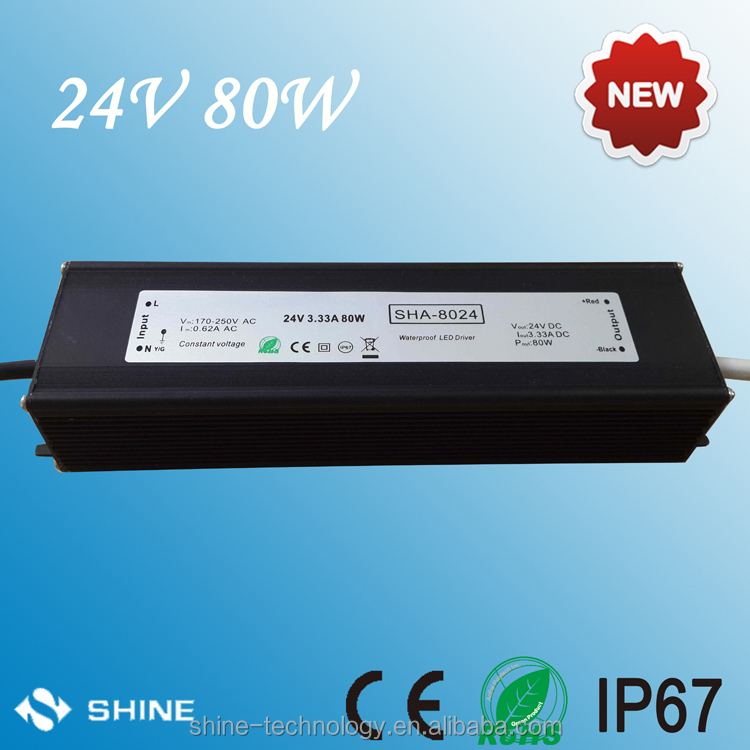 2016 HOT!!! SHA dc led driver 12v 24v 80w led power supply ce rohs mean well quality led transformer