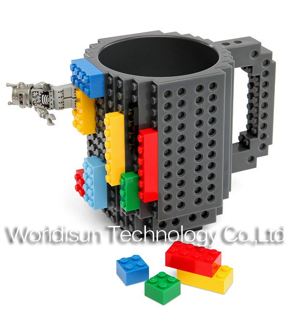 Hot Selling build-on brick mug wholesale gift items/plastic diy bulk coffee travel mugs
