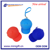 Candy Colored Silicone Coin Bags Women Key Wallets Cute Baseball Cap New Design Coin Purse With Strap Ladies Purse