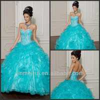 Charming Floor Length Ball Gown Sweetheart Beaded Puffy Organza Girls Pageant 16 Years Quinceanera Dresses DQ024