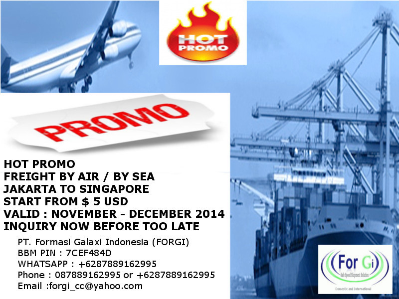 Promo Freight Jakarta to Singapore By Air or By Sea