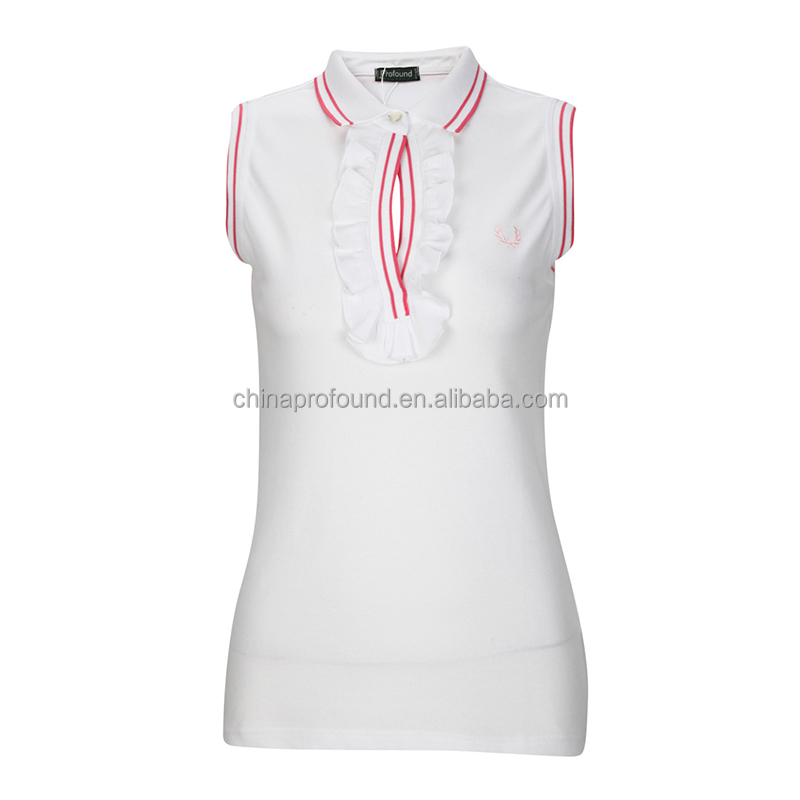 ladies sleeveless polo shirts high quality ladies polo shirt China factory