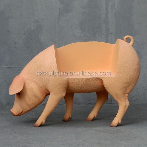 Park and garden decoration resin pig bench statue
