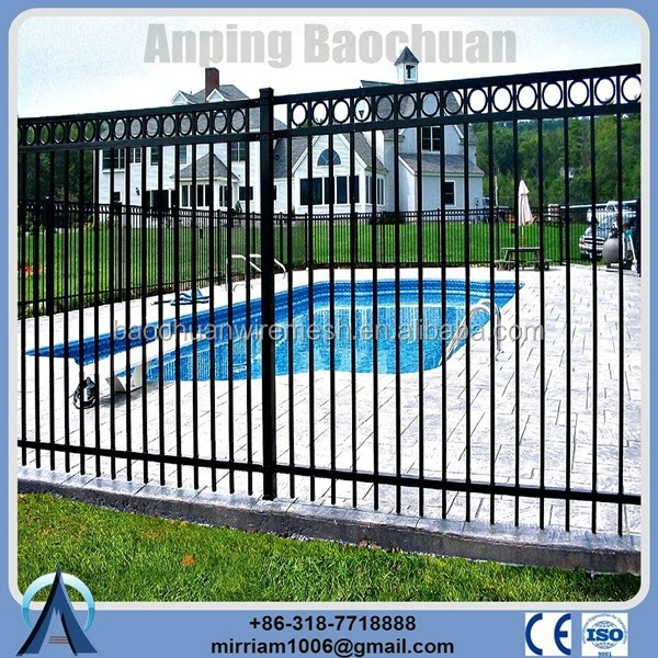Classic spear top black polyester painting aluminium fence garden