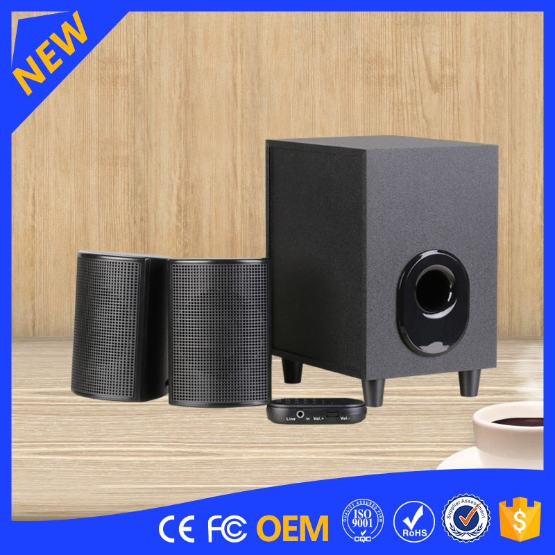 YOMMO 2.1 ch Stylish Multimedia Computer Speaker Wireless FM Radio Portable Player Music Wooden Speaker