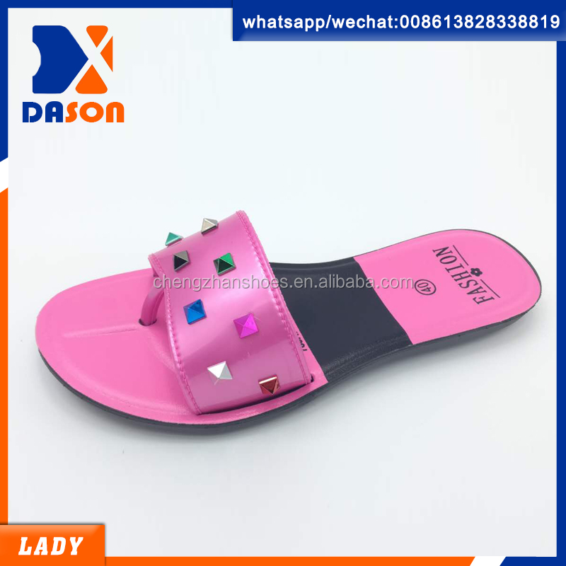 latest shoes flat pcu lady slippers of made in china