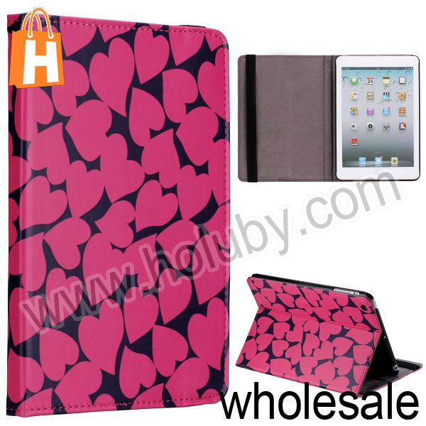 Cartoon Romantic Hot Hearts Flip Stand Leather Case with Eslatic Band for iPad Mini Multi Patterns