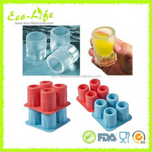 Food grade silicone ice shot glass , 4-cup silicone ice cube mold
