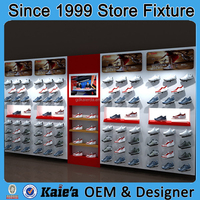Famous brand shoes men display rack showcase store design