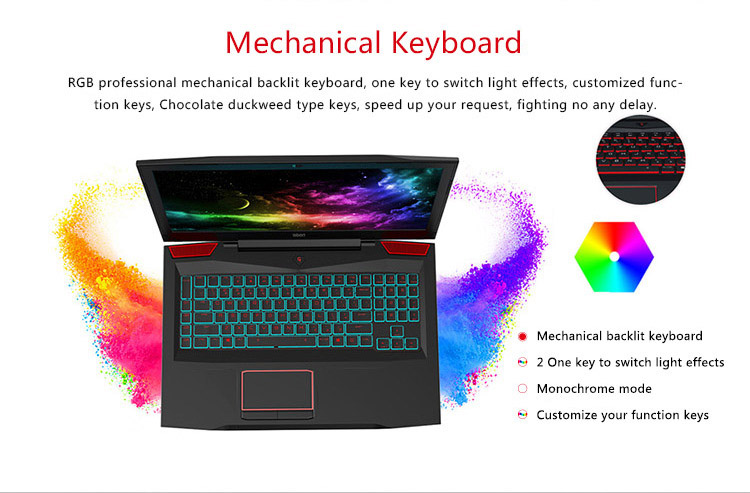 2017 i7-7700HQ quad core 16gb/32gb ram gaming laptop with mechanical keyboard