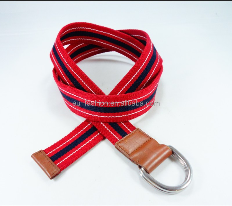 Fashionable Double Circle Buckle D Ring Canvas Belt with real leather