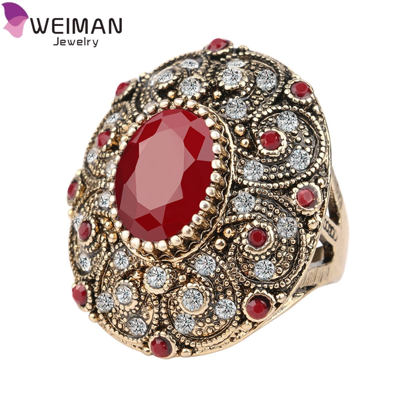 Hot Sale Vintage Europe and American Style Fashion Jewelry Red Crystal Ring for Women