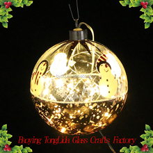Hanging led christmas glass ball with snowman ornaments