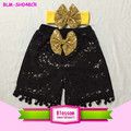 Summer black shiny baby girl bow sequin sparkling shorts newborn baby sequin shorts and headband
