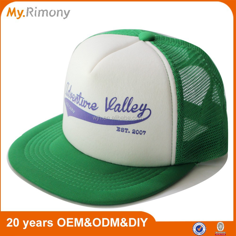 Custom green white flat brim 5 panel cap