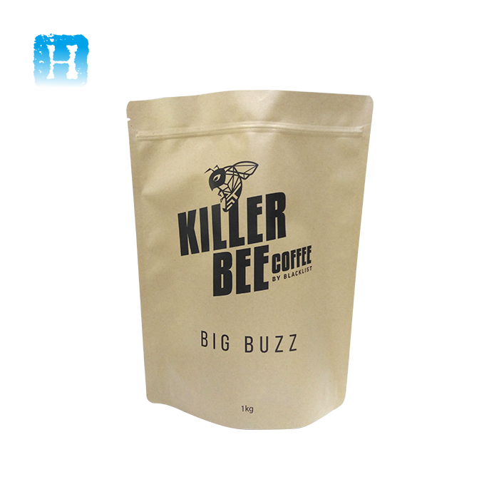 Food kraft paper pouch 500g/grey coffee bag1kg/stand up nature foil lined paper packaging bags