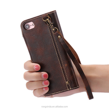 Trending products customize vintage style genuine leather card slots wallet cell mobile phone case for iphone 7 7plus 6 6plus