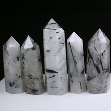 Wholesale Natural Black Rutilated Tourmalin Hair Quartz Crystal Point