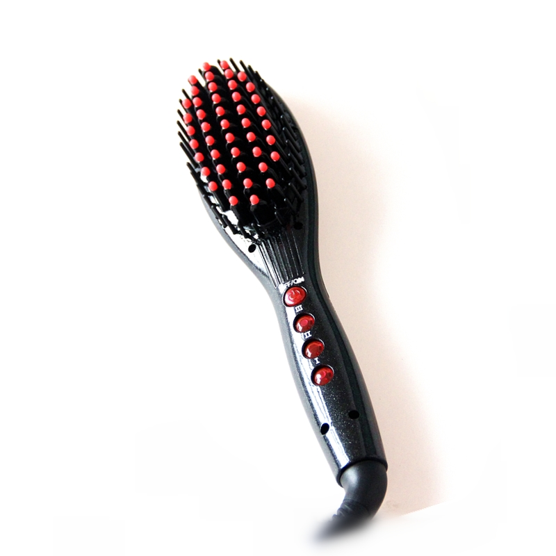 Private label hair tools fast heating custom 2 in 1 straightener and curling brush wholesale