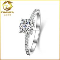 1 CT Brilliant White Gold Plate Wedding Anniversary Diamond Engagement Ring