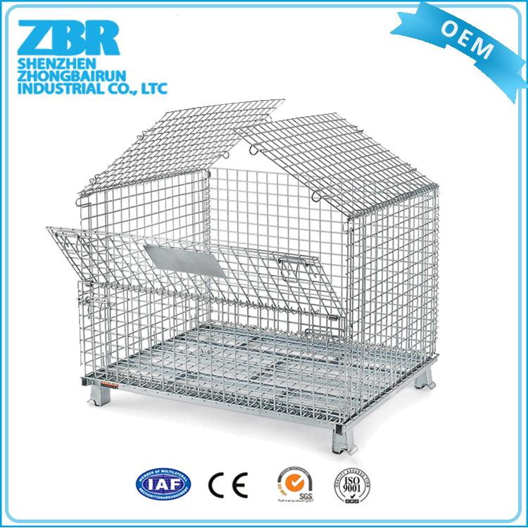 Galvanized folding large metal zinc customized industrial steel storage cages with 4 wheels