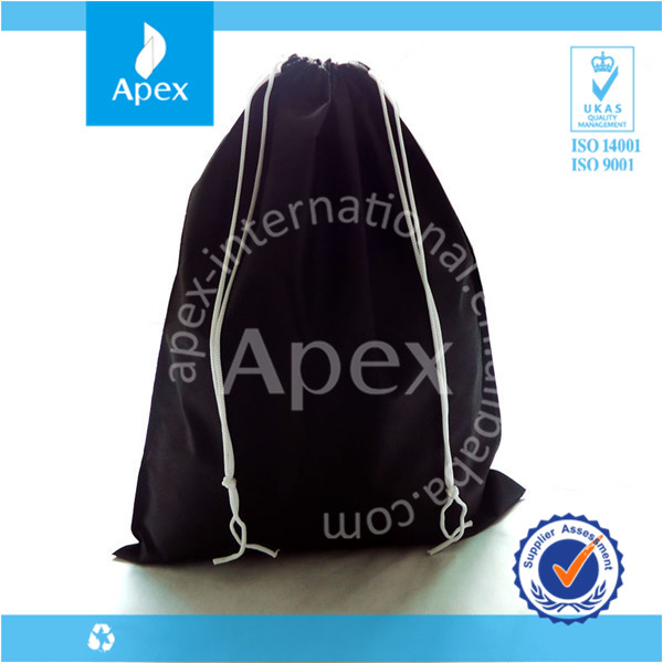 Black non woven drawstring wholesale shoe dust bags