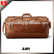 Mens Brown Vintage Genuine Leather Cowhide Classic Travel Luggage Duffle Gym Tote Bags