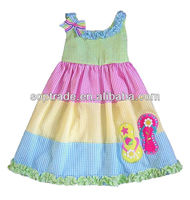 Children girl rainbow colored thai cotton dresses made in china