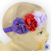 Cheaper Infant Chiffon Flower With Pearl Headband Baby Headband Elastic Hair Accessories