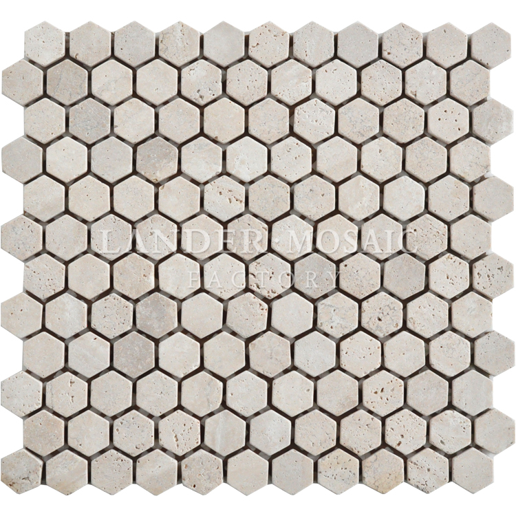 marble mosaic tile travertine stone hexagon matt mosaic